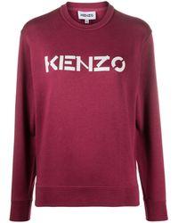 KENZO Long-sleeve Logo-print Top - Red