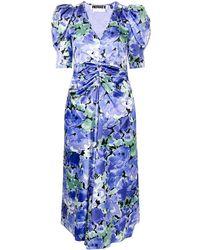 ROTATE BIRGER CHRISTENSEN Floral-print V-neck Dress - Blue