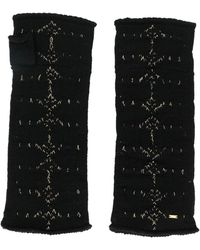 Saint Laurent Arrow Pattern Knitted Mittens - Black