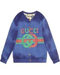 Gucci Felpa con cappuccio e logo - Blu