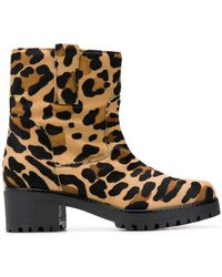 P.A.R.O.S.H. - Leopard Print Ankle Boots - Lyst