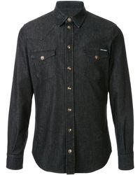 Dolce & Gabbana Camisa vaquera con botones y motivo de corona - Negro