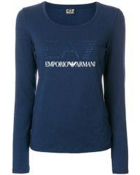 EA7 - Embellished Logo T-shirt - Lyst