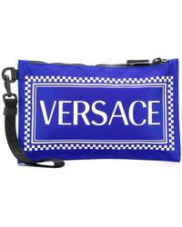 Versace Pochette à logo imprimé - Bleu