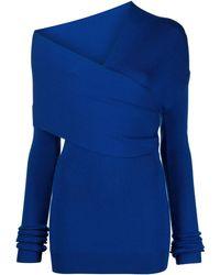 Monse Vestido de punto con cuello cruzado - Azul