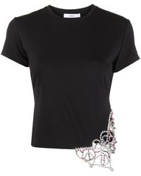 Area Embellished Butterfly Cropped T-shirt - Black
