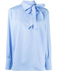 Ports 1961 Pussy Bow Cotton Blouse - Blue