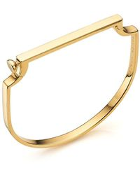 Monica Vinader Signature 18ct Gold-plated Vermeil Silver Bangle - Black