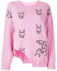 Natasha Zinko Cut-out Intarsia Sweater - Pink