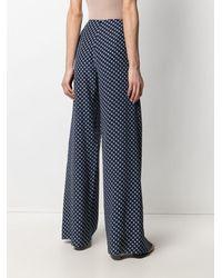 Ralph Lauren Collection Pantalon palazzo Saunders Art Deco - Bleu