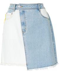PORTSPURE コントラストパネル スカート - ブルー