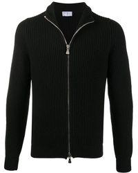 Fedeli ジップアップ リブセーター - ブラック