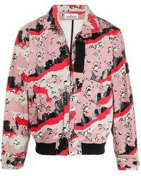 Stone Island Куртка С Абстрактным Принтом - Розовый