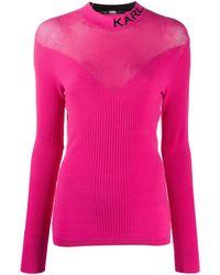 Karl Lagerfeld Топ Вязки Интарсия С Логотипом - Розовый