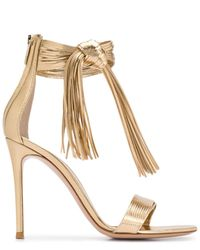 Gianvito Rossi Fringed 85mm Sandals - Metallic