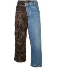 Monse Denim And Camouflage Patchwork Jeans - Blue