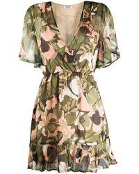 Liu Jo V-neck Floral Camouflage Print Dress - Green
