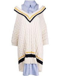 Monse Vestido estilo sudadera a capas - Blanco