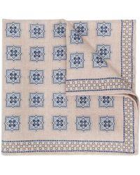 Brunello Cucinelli Seidenschal mit Quadrat-Print - Blau