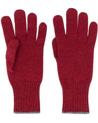 Brunello Cucinelli Contrast-trimmed Cashmere Gloves - Red