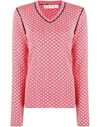 Marni Geometric Pattern Sweater - Red