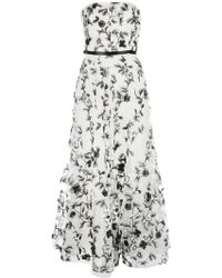Marchesa notte Floral Embroidered Strapless Gown - White