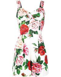 Dolce & Gabbana Combinaison à fleurs - Blanc