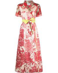 Pierre Louis Mascia Платье Макси С Завязками И Цветочным Принтом - Красный