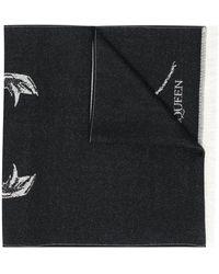Alexander McQueen Écharpe en maille à logo - Noir