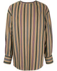 Wooyoungmi - Collarless Striped Shirt - Lyst