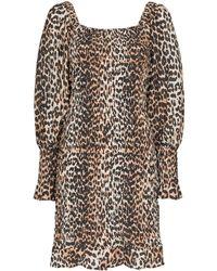 Ganni - Mini-jurk Met Luipaardprint - Lyst