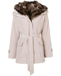 Max & Moi - Belted Fur Lined Parka - Lyst