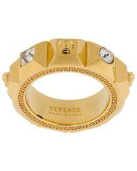 Versace Кольцо С Кристаллами И Декором Medusa - Металлик