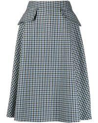 Lanvin チェック Aラインスカート - ブルー