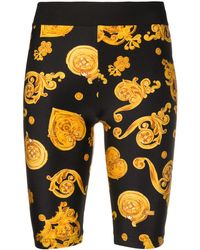 Versace Jeans Pantalones cortos de ciclismo con motivo Barocco - Negro