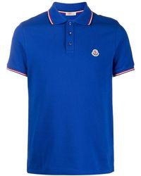 Moncler Poloshirt mit Logo-Patch - Blau