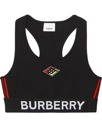 Burberry Sujetador tipo jersey con logo stretch - Negro