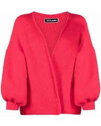 Styland Open-knit Cardigan - Red