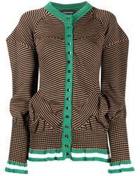Kiko Kostadinov Striped Puff Sleeve Cardigan - Brown