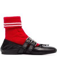 Miu Miu Black And Red Wool Leather Sock Ballerina Flats - Zwart