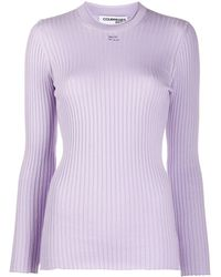 Courreges Logo-patch Long Sleeved Ribbed Top - Purple