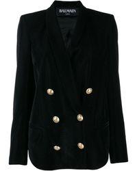 Balmain Velvet Double Breasted Blazer - Black