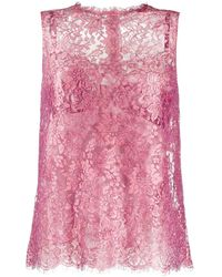 Dolce & Gabbana Floral Lace Sleeveless Blouse - Pink