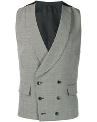 Gabriele Pasini Houndstooth Double-breasted Waistcoat - Black