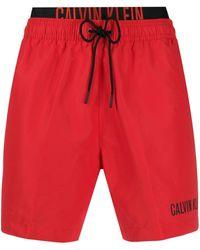 Calvin Klein Badeshorts mit Kordelzug - Rot