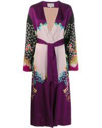 Etro Пальто С Цветочным Принтом И Поясом - Пурпурный