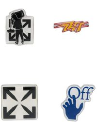 Off-White c/o Virgil Abloh Set Of Four Logo-detail Pins - Black