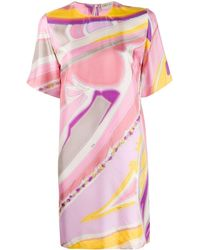 Emilio Pucci Abstract Print Silk T-shirt Dress - Pink