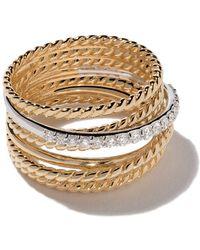 David Yurman 18kt Yellow Gold Crossover Diamond Wide Ring - Multicolour
