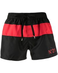 N°21 Stripe Detail Logo Swimming Shorts - Black